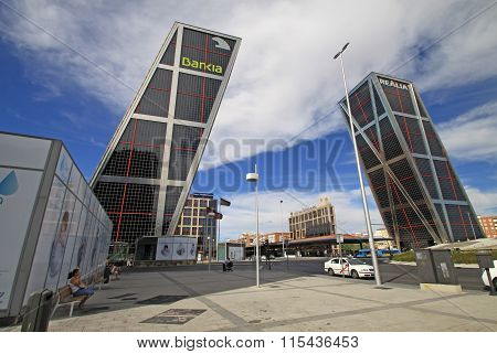 Madrid, Spain - August 25, 2012: The Gate Of Europe (puerta De Europa) Towers Also Known As Kio Towe