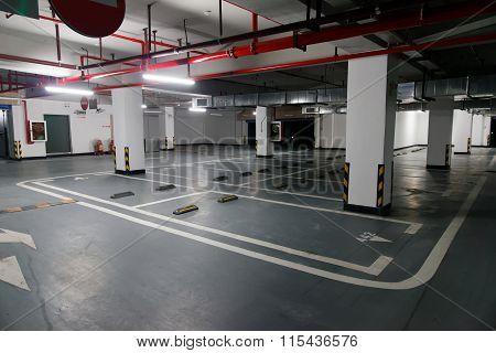 Empty Underground Parking Lot.