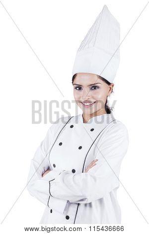 Indian Woman Chef Standing In Studio