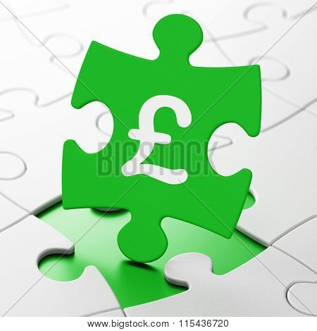 Currency concept: Pound on puzzle background