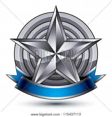 Heraldic 3D Glossy Blue And Gray Icon - Can Be Used In Web And Graphic Design, Five-pointed Silver S