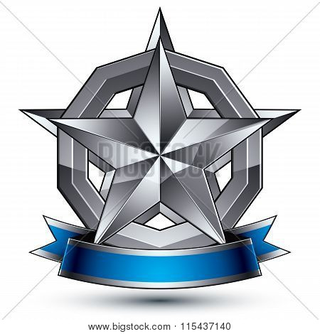 Geometric Vector Glamorous Silver Element Isolated On White Backdrop, 3D Polished Star Shaped Blazon
