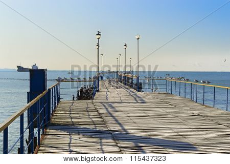 The Wooden Pier Acting In The Sea And Seagulls