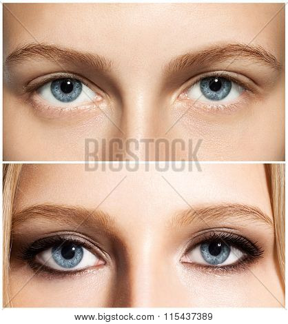 Close-up Set Of A Woman's Eye Make-up Before And After