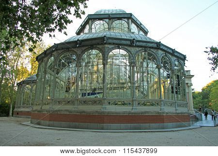 Madrid, Spain - August 25, 2012: The Palacio De Cristal (crystal Palace) In Buen Retiro Park (el Ret