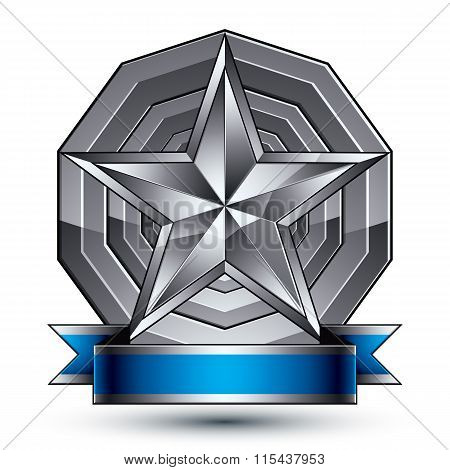 Sophisticated Vector Emblem With Silver Glossy Star And Blue Wavy Ribbon, 3D Decorative Design