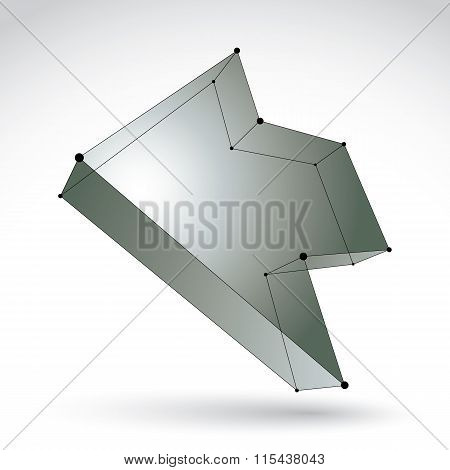 3D Mesh Trendy Silver Backward Arrow Isolated On White Background, Lattice Bright Pointer Icon