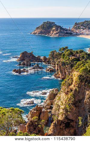 Aerial View Of Tossa De Mar In Costa Brava, Catalonia