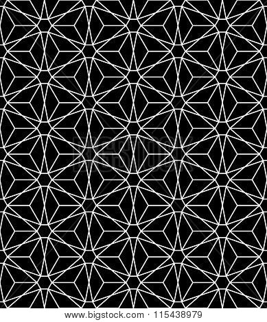 Vector modern seamless sacred geometry pattern flower of life black and white abstract