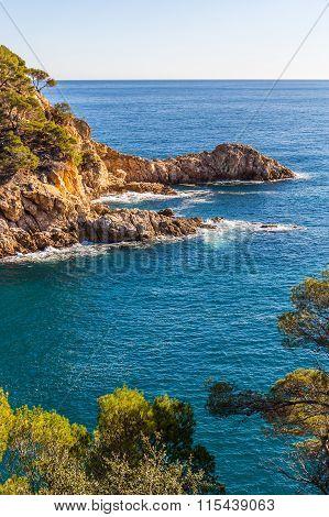 Typical Beautiful Wild Costa Brava Coastline, Catalonia