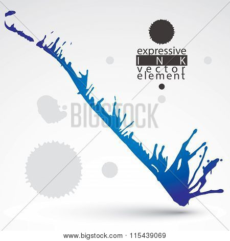 Artistic Bright Abstract Dirty Ink Template, Scanned And Traced Splashing Decorative Element. Rough