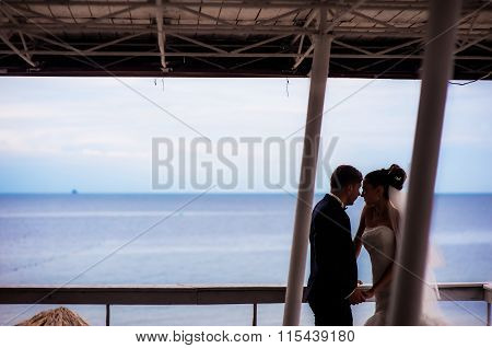 Happy newlyweds under the canopy by the seashore.