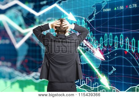Illustration Of The Crisis Concept With A Businessman In Panic
