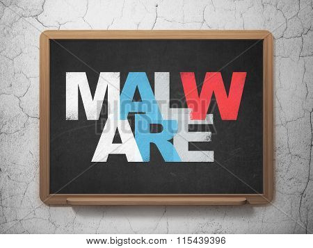 Protection concept: Malware on School Board background