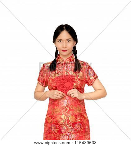 Asian Lady In Red  Cheongsam Suit  Holding Red Envelope Or Ang-pow .isolated On White Background