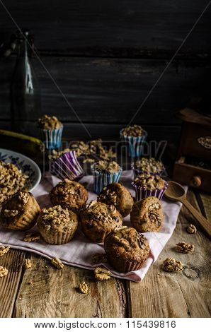Whole Grain Muffins With Dark Chocolate And Nuts