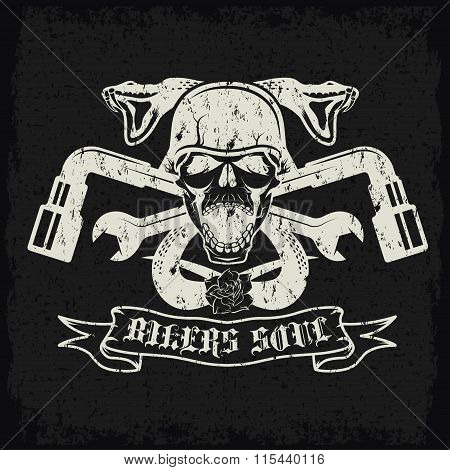 Grunge Biker Theme Label With Pistons,flowers,snakes And Skulls
