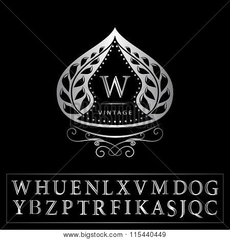 Monogram Design Elements, Graceful Template. Calligraphic Elegant Line Art Logo Design. Letter Silve