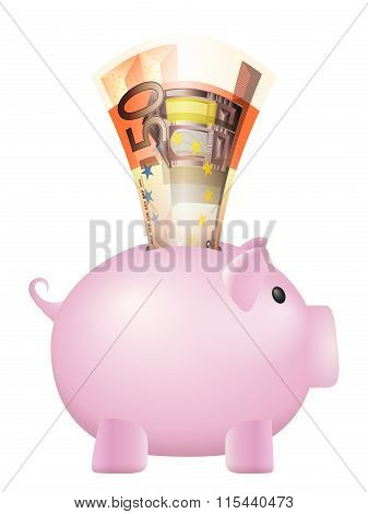 Piggy Bank Fifty Euro Banknote