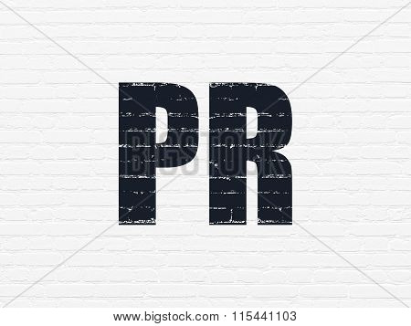 Marketing concept: PR on wall background