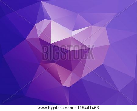 Polygonal horisontal background with heart