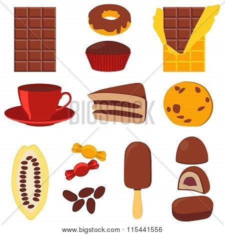 Icon set chocolate products. Chocolate, candy and cocoa fruit. Vector illustration