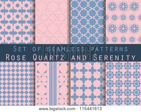 Set Of Seamless Patterns. Geometric Seamless Pattern. Rose Quartz And Serenity Violet Colors.