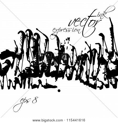 Black And White Vector Ink Splash Seamless Pattern, Monochrome Dirty Messy Graphic Art Repeat Backdr