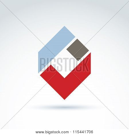 Vector Abstract Corporate Design Element. Geometric Symbol, Red Checkmark, Infographics Icon.