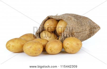 Potato In The Sack Isolated On White Background