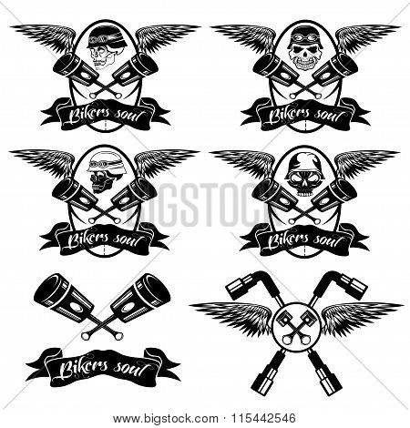 Biker Theme Labels With Pistons And Skulls With Wings