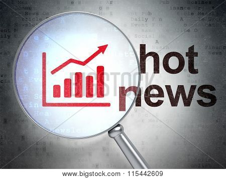 News concept: Growth Graph and Hot News with optical glass