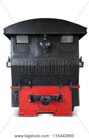 Vintage Steam Train On White