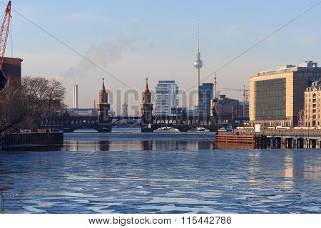 Berlin Skyline During Winter, Kreuberg, Tv Tower, Oberbaum Bridge