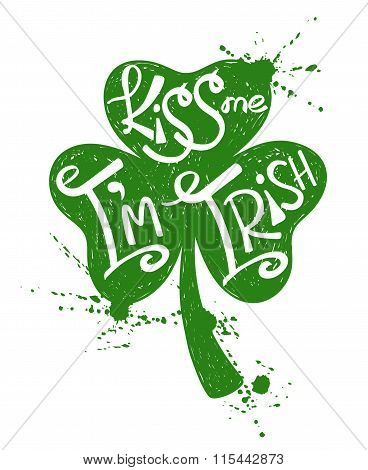 St. Patrick's Day Typography Poster With Shamrock.