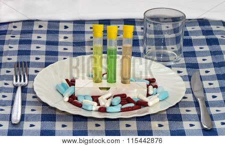 Alimentation With Pills Food