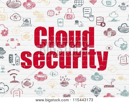 Cloud computing concept: Cloud Security on wall background