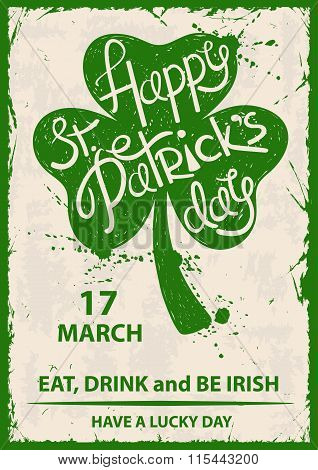 Retro St. Patrick's Day Typography Poster With Shamrock.