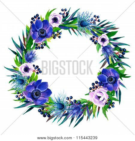 Floral  Frame With Colorful Watercolor Boho Bouquet.