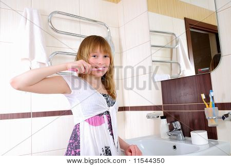 young girl waking up early in the morning