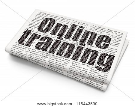 Learning concept: Online Training on Newspaper background