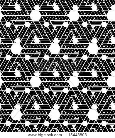 Black And White Infinite Motif Textured Pattern With Hexagons, Continuous Maze Contrast Geometric