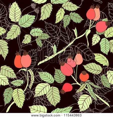 Seamless Pattern With Branches Of Wild Rose