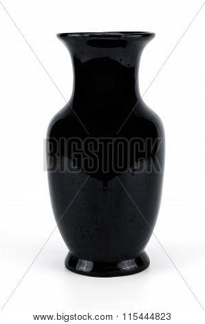 Black Vase Isolated On White Background