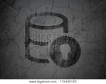 Database concept: Database With Lock on grunge wall background