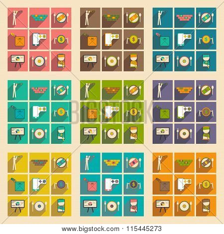 Modern collection flat icons with shadow economic