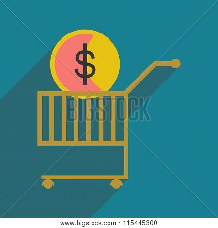 Modern flat icon with shadow coin in the trolley