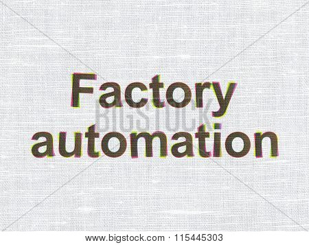 Industry concept: Factory Automation on fabric texture background