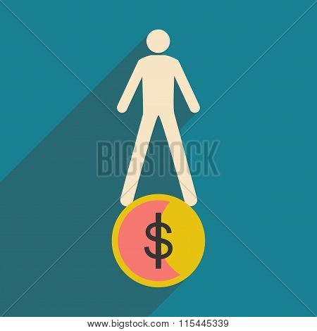 Modern flat icon with shadow coin and people