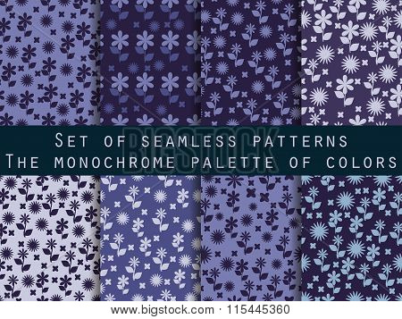 Set Of Seamless Patterns With Flowers. Shades Of Blue, Purple, Violet Colors.